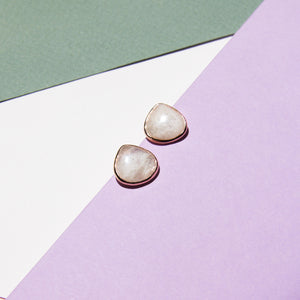 White Moonstone Teardrop Studs