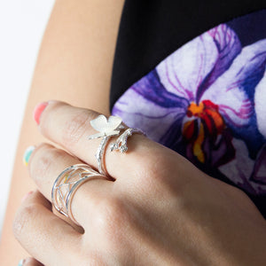 White Shell Butterfly Ring