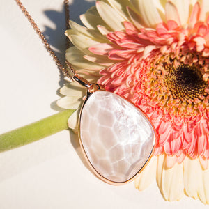 Mother of Pearl Organic Shape Pendant Necklace