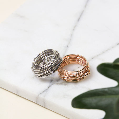 twisted wire wrap sterling silver rings