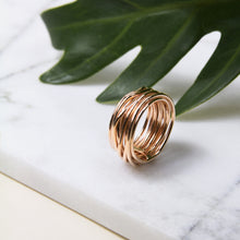 wire wrap ring with rose gold plating