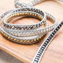 mixed metal beads wrap bracelet