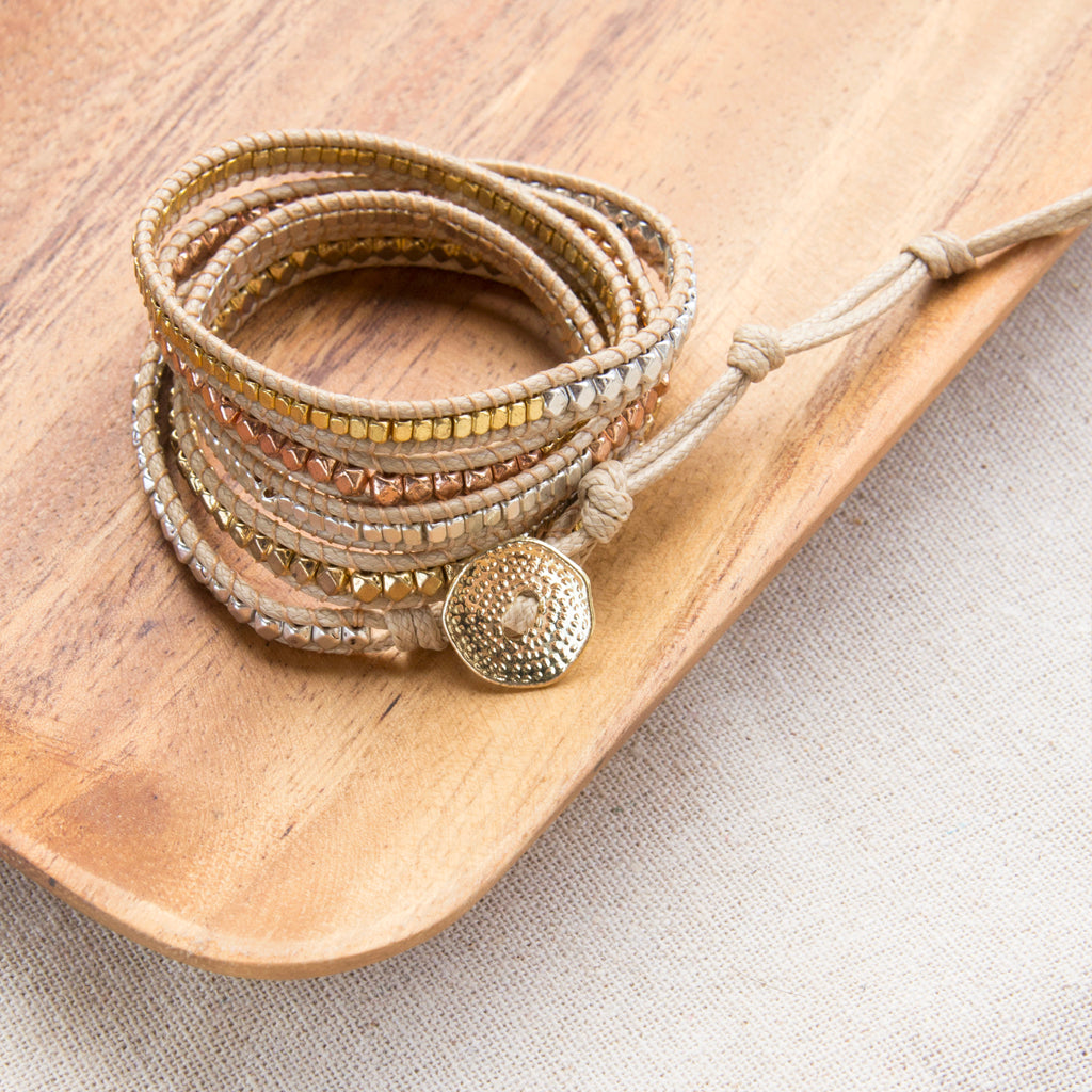mixed metals wrap bracelet