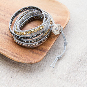 five wrap bracelet with button closure