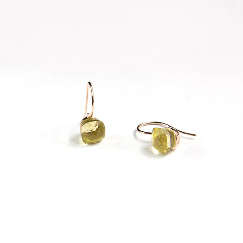 Lemon Quartz Cushion Cut Earrings
