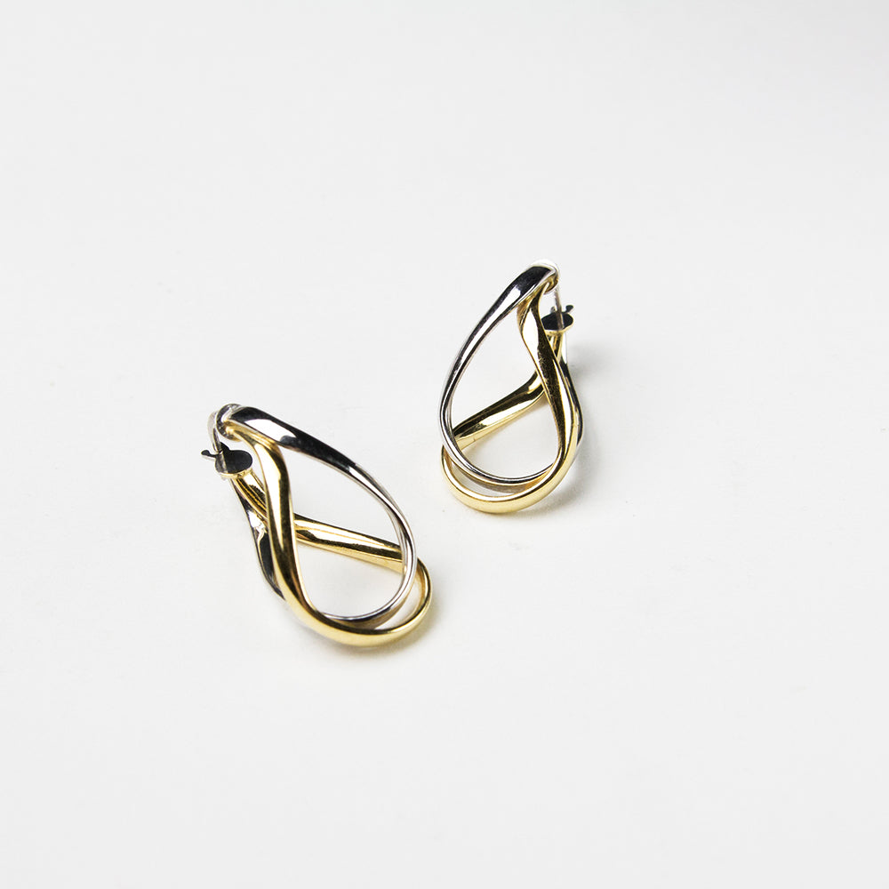 gold and silver elegant twist earrings