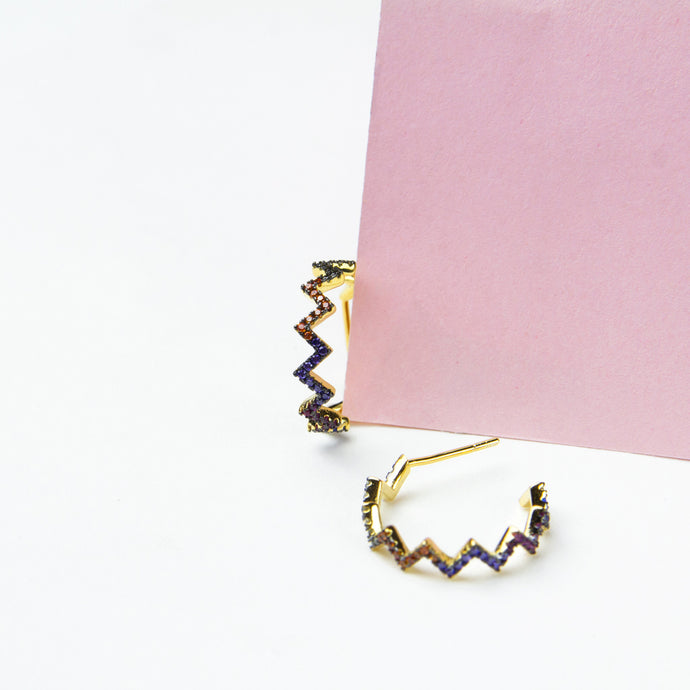 rainbow zig zag sterling silver hoops