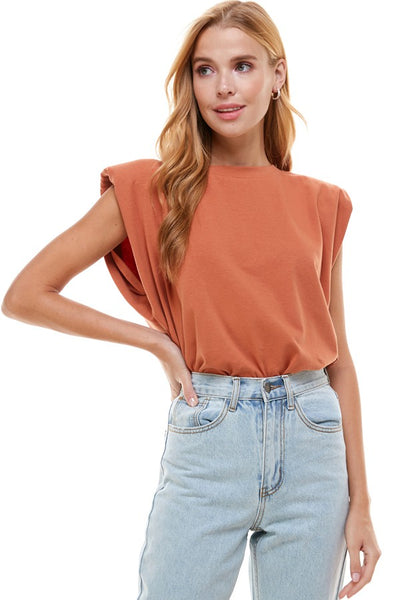 Padded shoulder top
