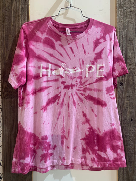 HOPE tie dyed breast cancer tee's