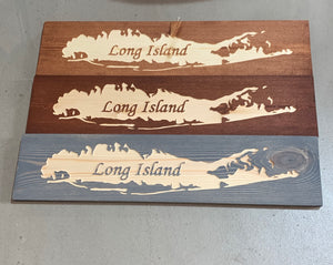 Carved wood Long Island sign