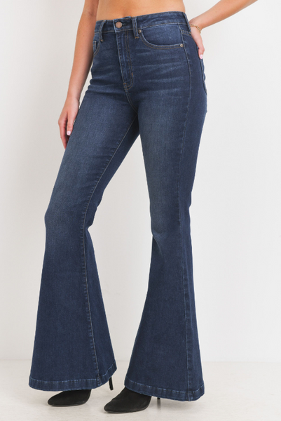 Dark denim bell jeans