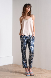 Tie dye high waist silk pants