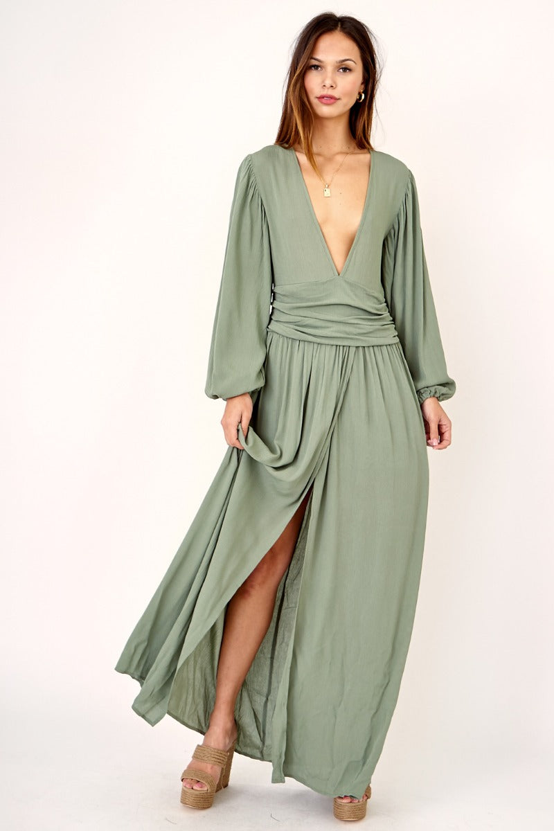 Maxi dress with plunge neck
