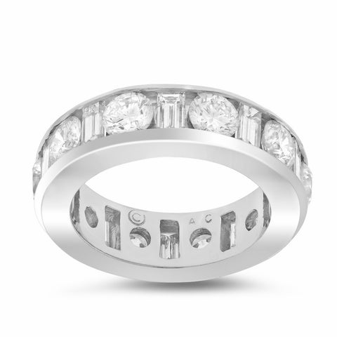 Round and Baguette Wedding Band