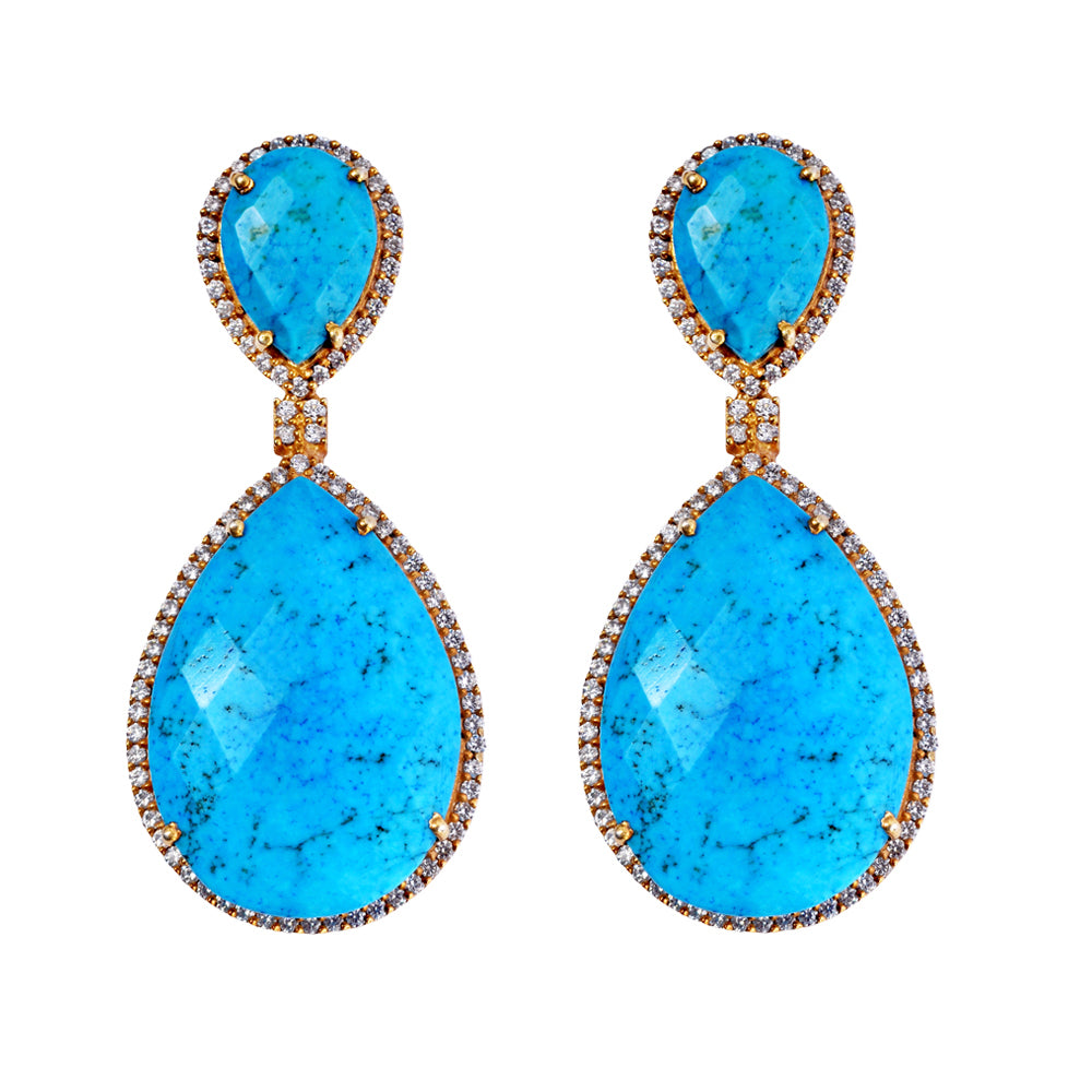18k Gold Plated Turquoise Double Pear Drop Earrings