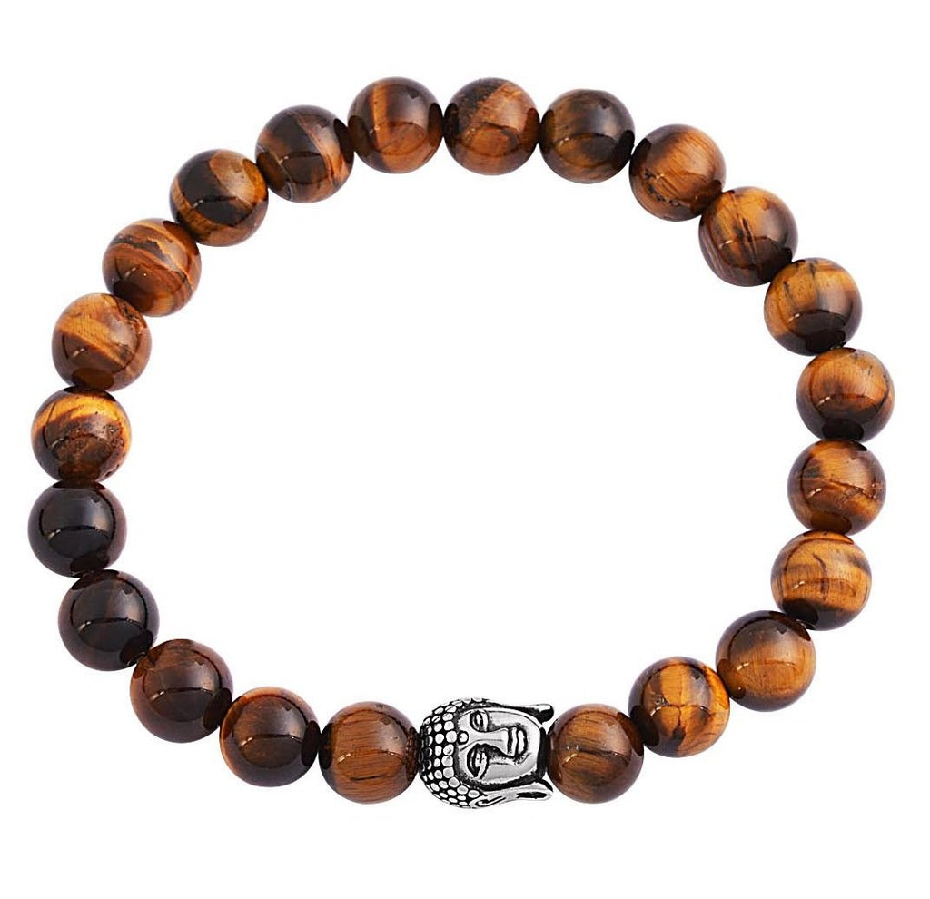 Tiger Eye Buddha Bracelet in Silver
