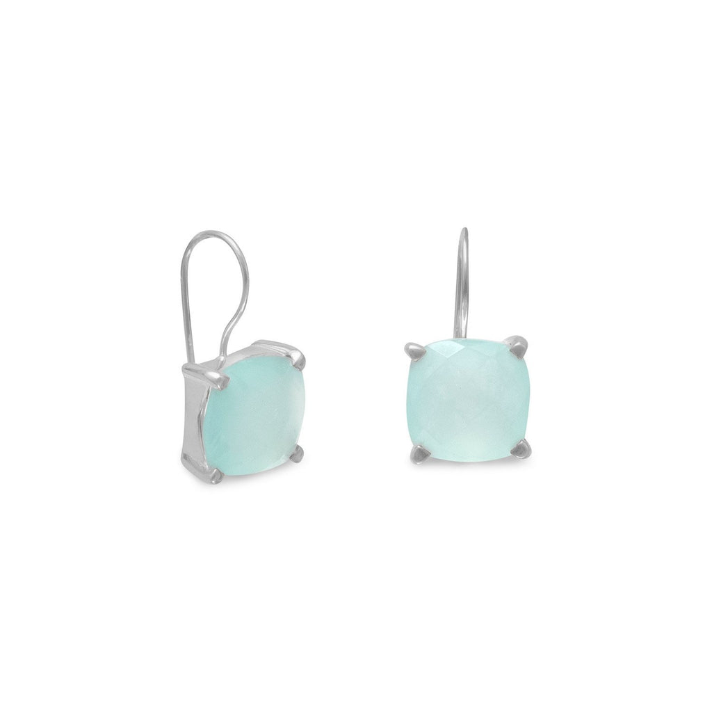 Sterling Silver Cushion Shape Chalcedony Earrings