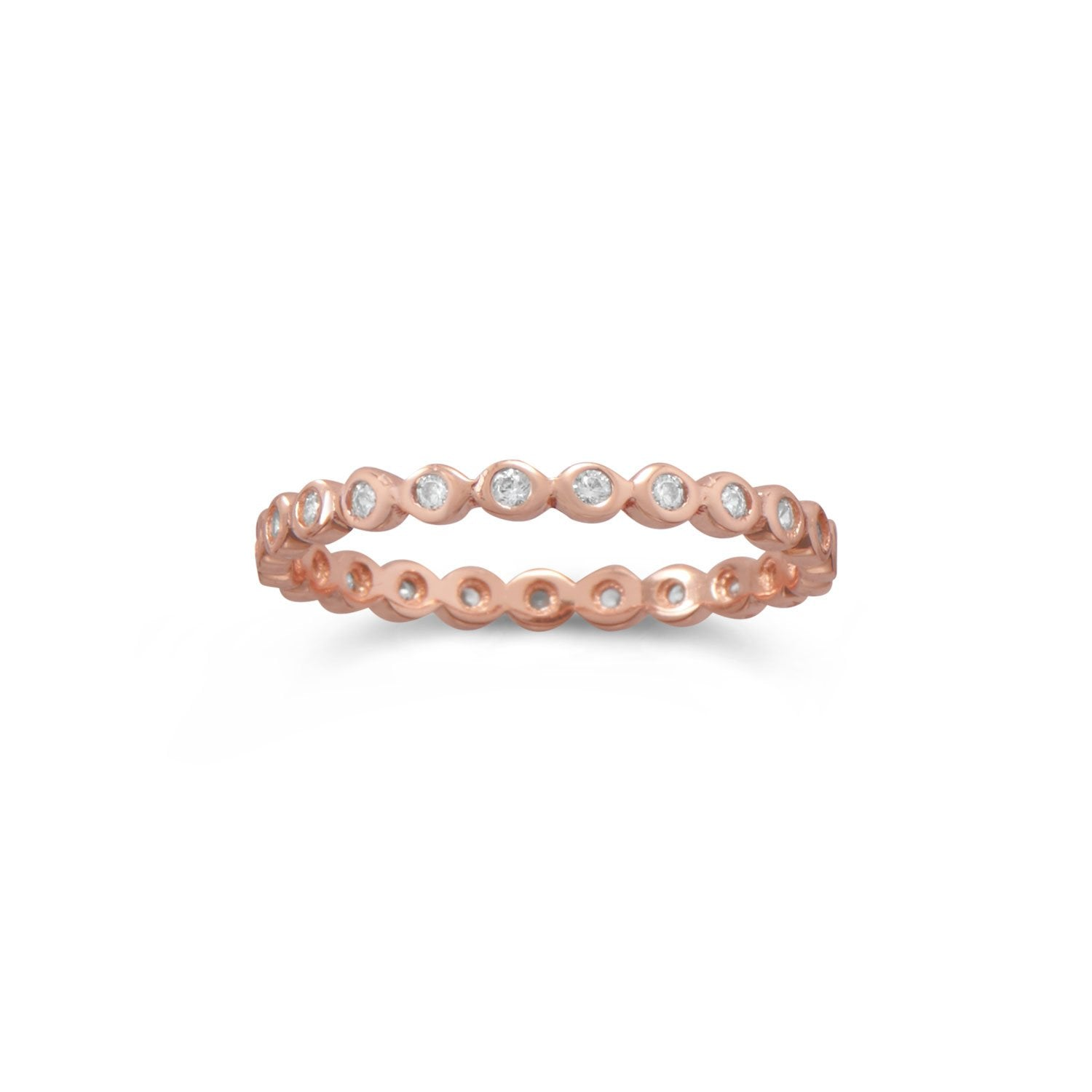 18K Rose Gold Plated Sterling Silver Cz Eternity Band Ring