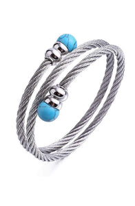 Silver Turquoise Wrap Bangle