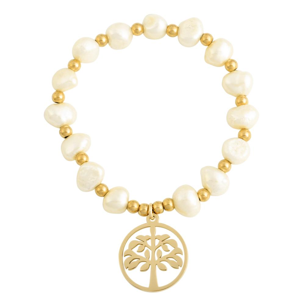 18k Gold Family Tree Charm Bracelet