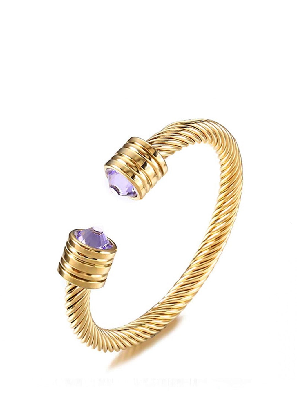18K Gold Textured Lavender Zirconia open Cuff Bangle