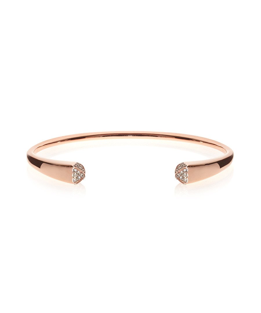 18k Rose Gold Embellished Open Cuff Bangle
