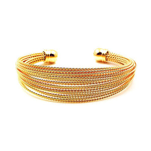 18k Gold Textured Cuff Bangle