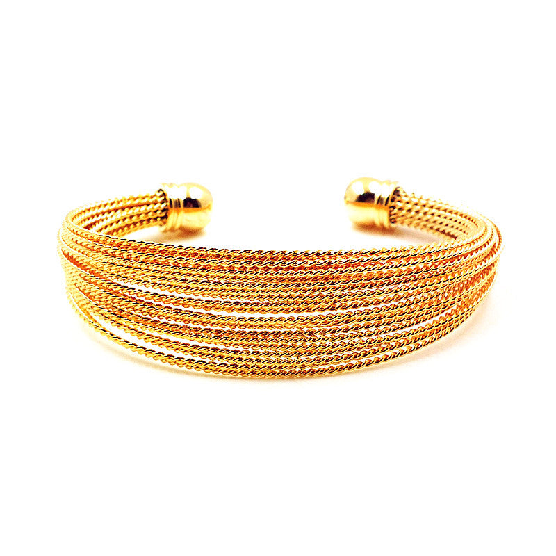 18k Gold Plated Textured Cuff Bangle