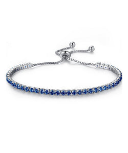 Silver Adjustable Blue Cz Bracelet