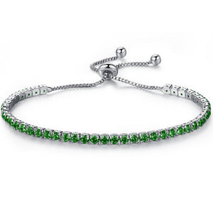 Silver Adjustable Green Cz Bracelet