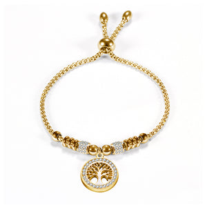 18k Gold Carved Tree Charm Embvelished Bracelet