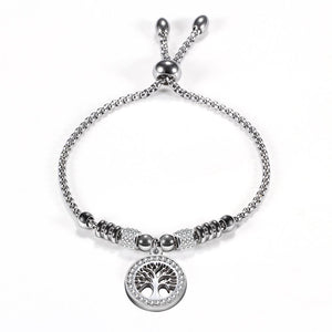 Silver Carved Tree Charm Embelished Bracelet