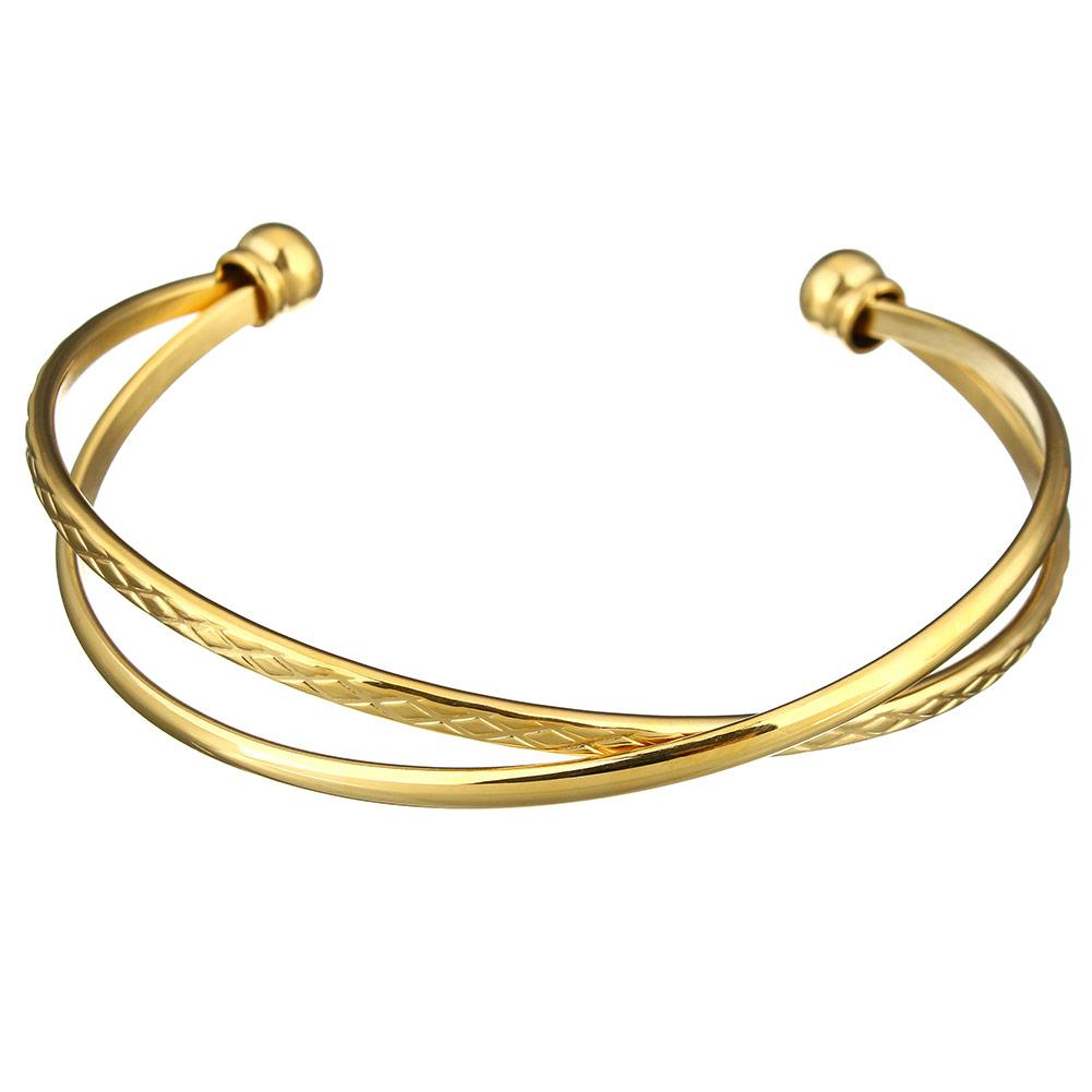 18k Gold Criss Cross Gold Bangle
