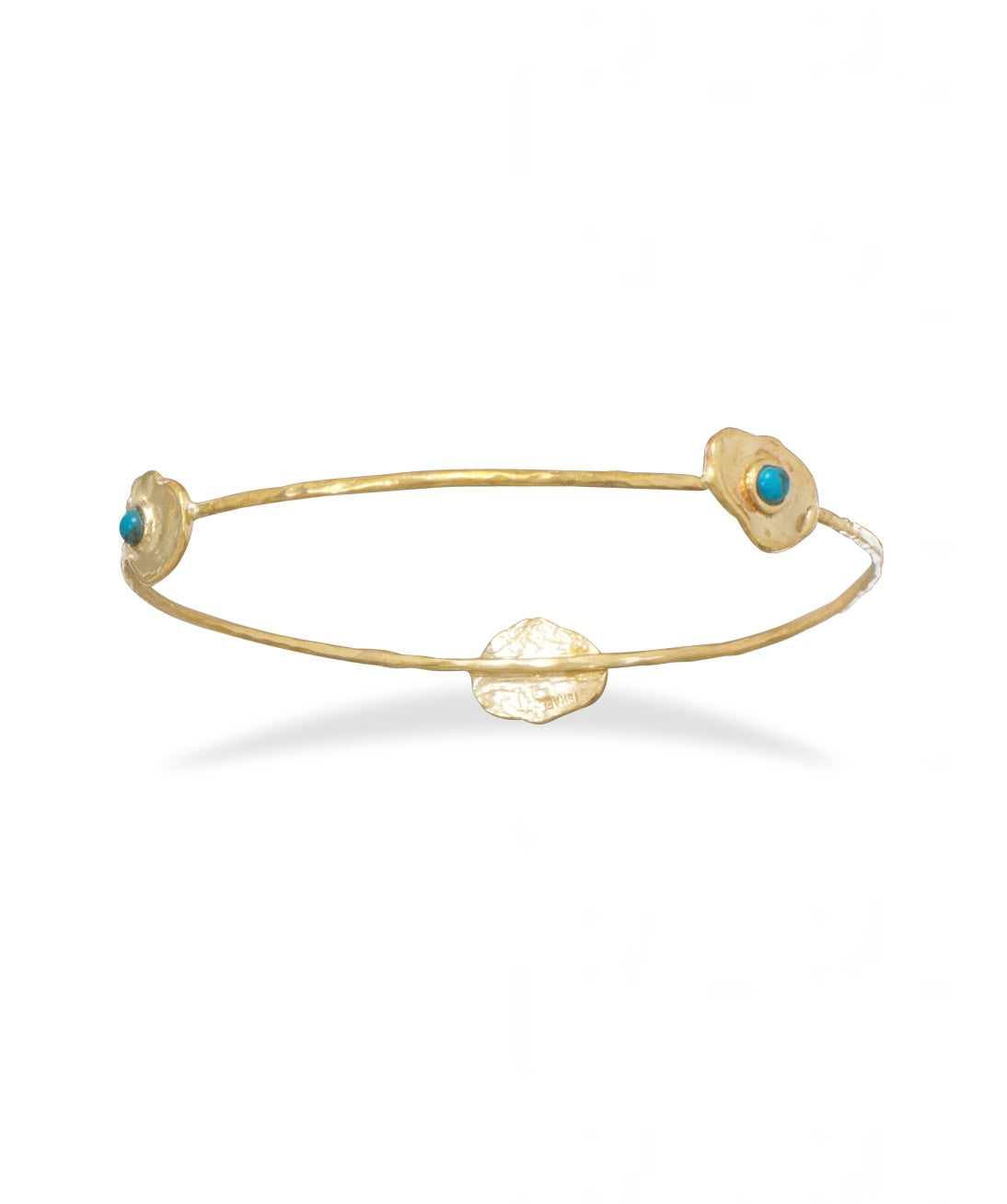 18k Gold Turquoise Station Bangle