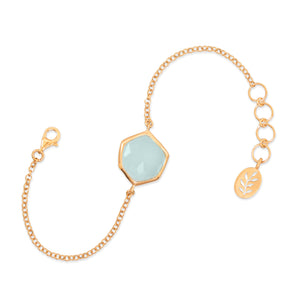 18k Gold Plated Sea Green Chalcedony Geometric Gemstone Bracelet