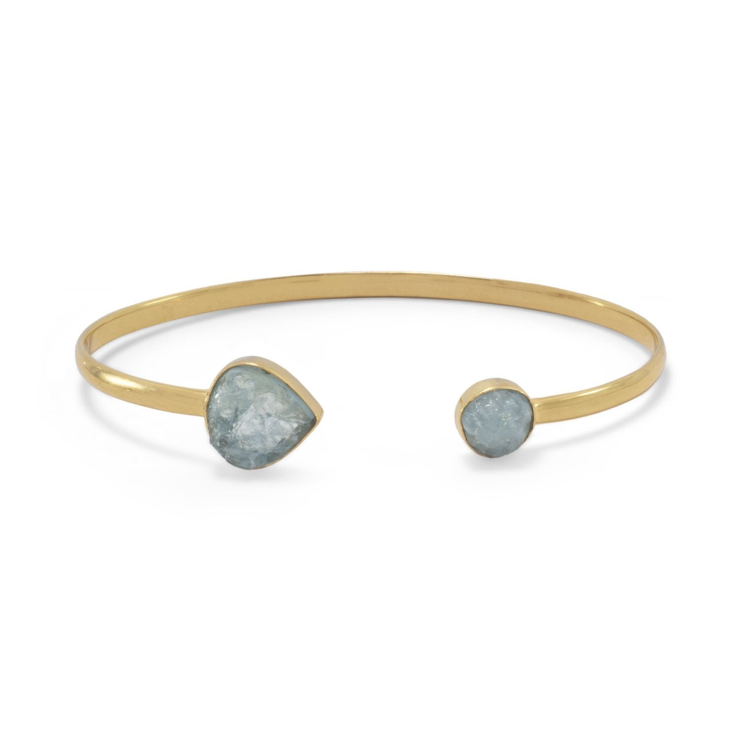 18k Gold Aquamarine Pear & Round Open Cuff Bangle