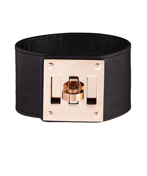 18K Rose Gold Plated Black Leather Cuff Lock Bracelet