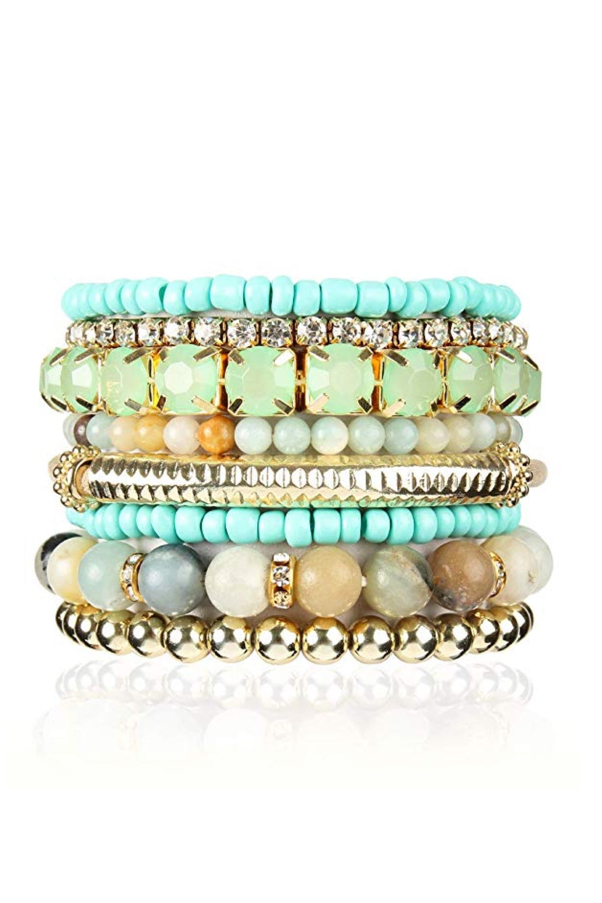 18k Gold Multi Sea Green & Turquoise crystal Bracelet Set