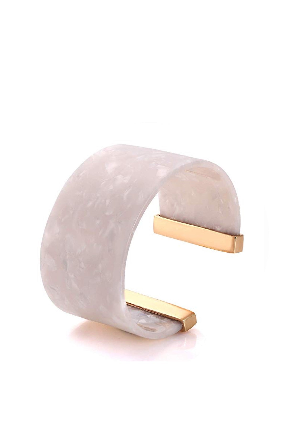 18k Gold White Shell Bangle