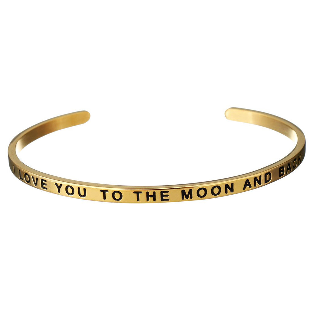 18K Gold Love You To The Moon Bangle
