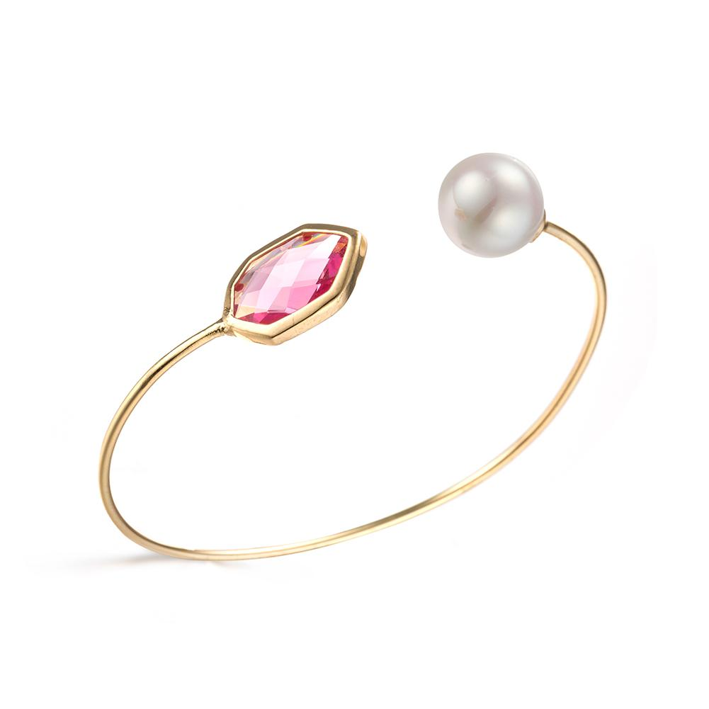 18K Gold Geometric Pink Quartz & Pearl Open Cuff Bangle