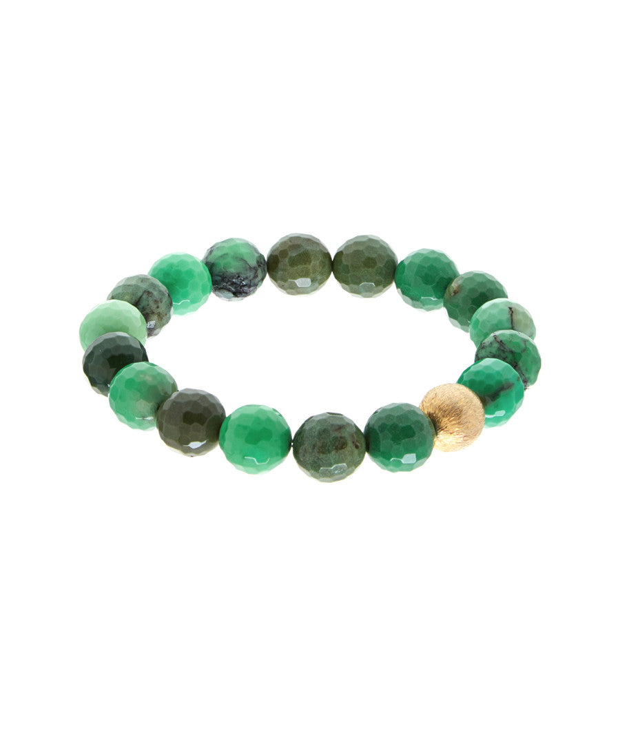 18k Matte Gold Multi Sea Green Bracelet