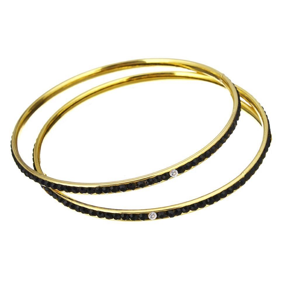 18K Gold Eternity Black Crystal Bangle Set