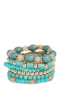 18K Gold Plated Multi Turquoise Bracelet Set