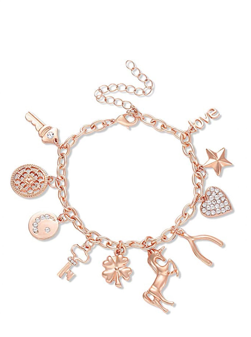 18K Rose Gold Charm Embelished Bracelet