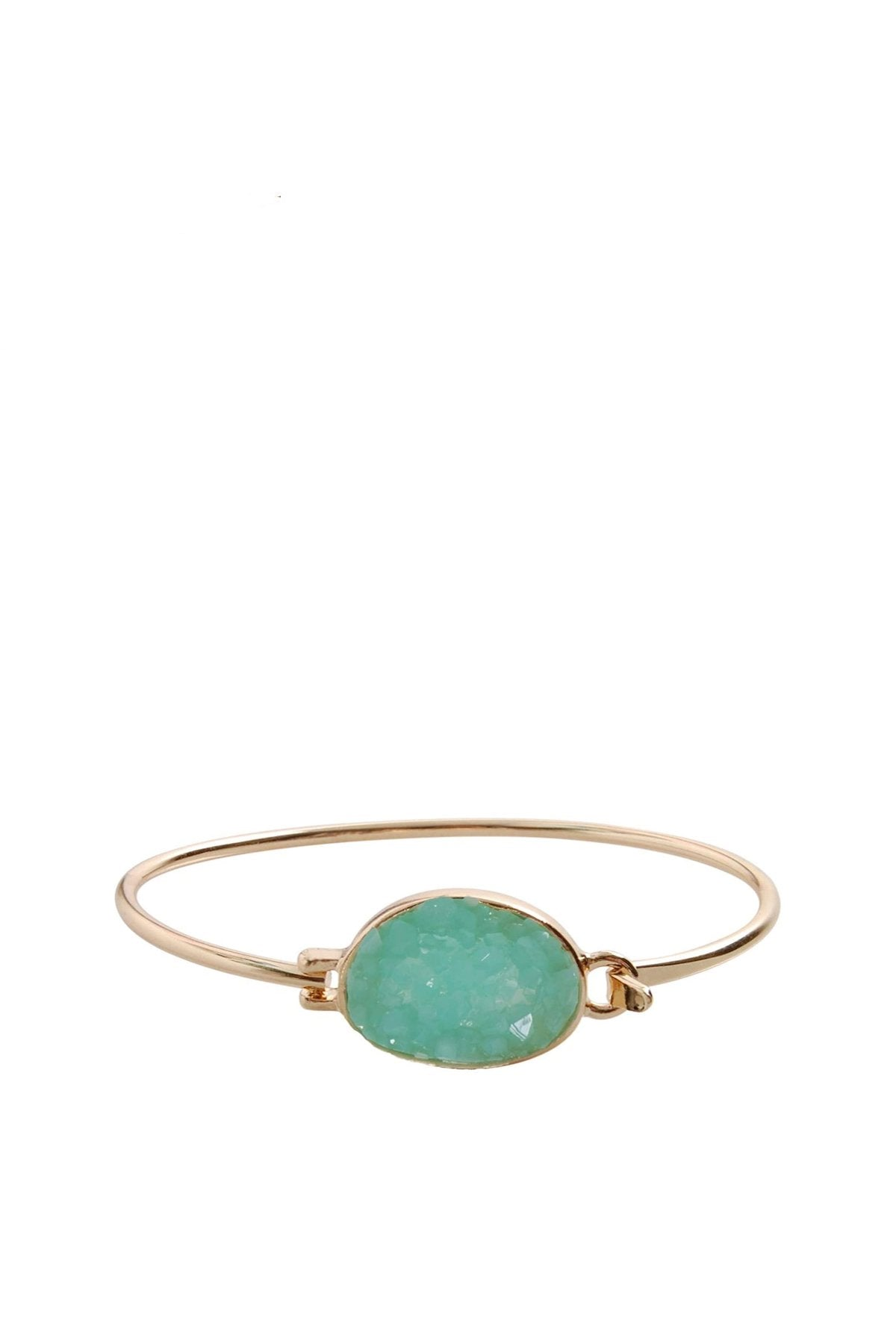 18K Gold Se Green Druzy Oval Bangle