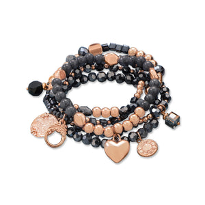 18K Rose Gold Plated Blue & Black Onyx Multi Charm Bracelet Set