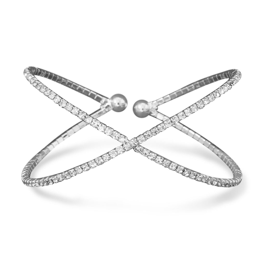 Silver Plated Crystal Criss Cross Bracelet