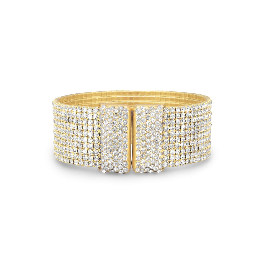 18K Gold Wide Cuff Flexible Bracelet