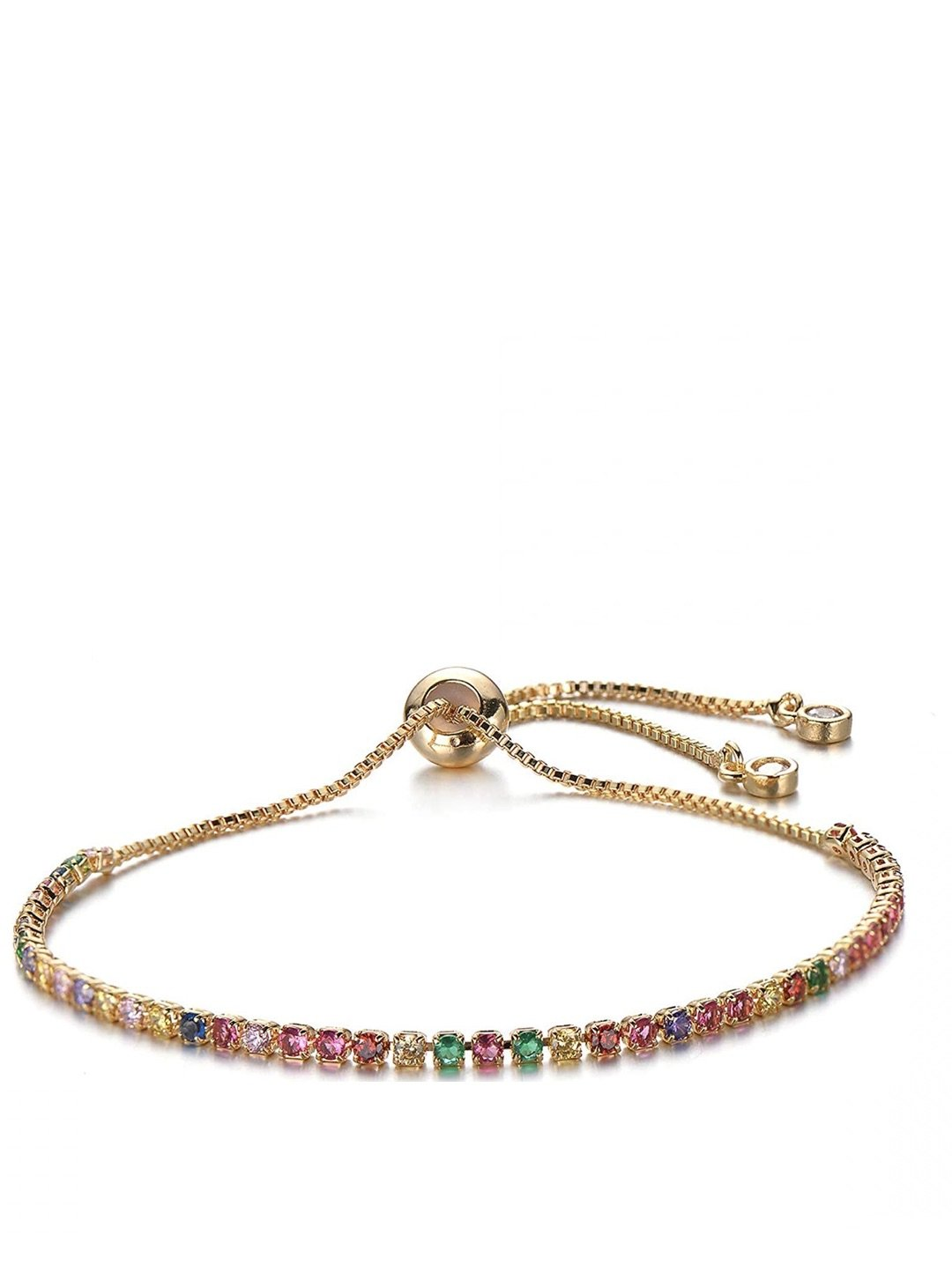 18K Gold Cz Eternity Adjustable Bracelet